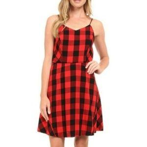 Kensie Red Buffalo Plaid Check Dress